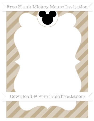 Free Khaki Diagonal Striped Blank Mickey Mouse Invitation