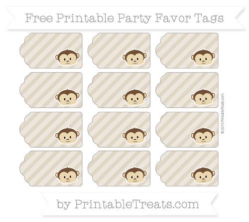 Free Khaki Diagonal Striped Boy Monkey Party Favor Tags