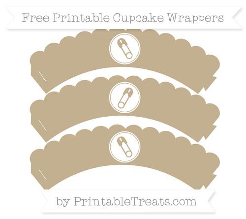 Free Khaki Diaper Pin Scalloped Cupcake Wrappers