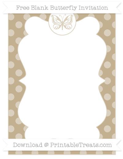 Free Khaki Dotted Pattern Blank Butterfly Invitation