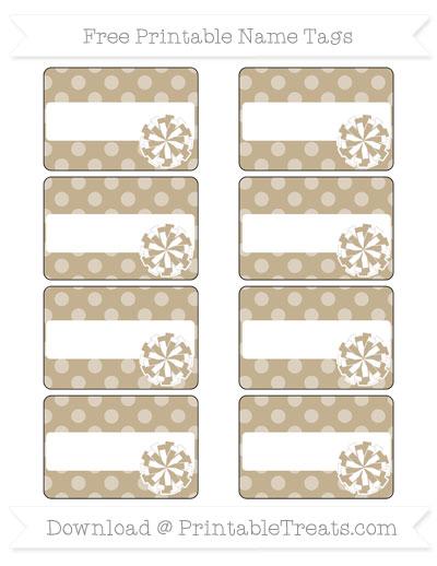Free Khaki Dotted Pattern Cheer Pom Pom Tags