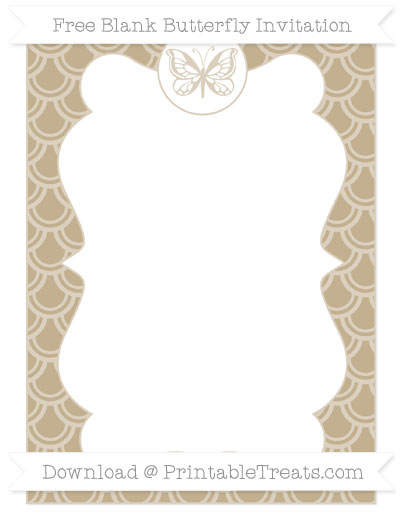 Free Khaki Fish Scale Pattern Blank Butterfly Invitation
