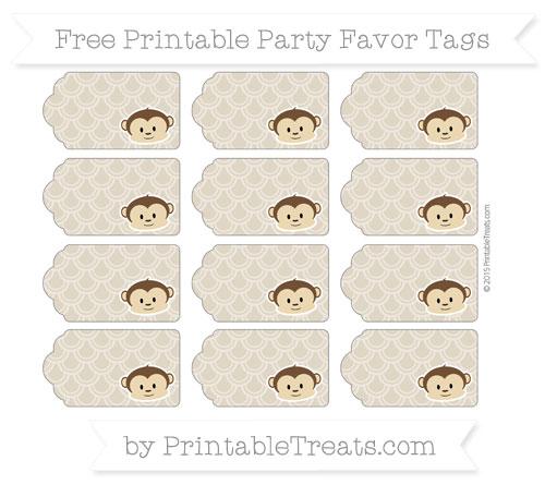 Free Khaki Fish Scale Pattern Boy Monkey Party Favor Tags