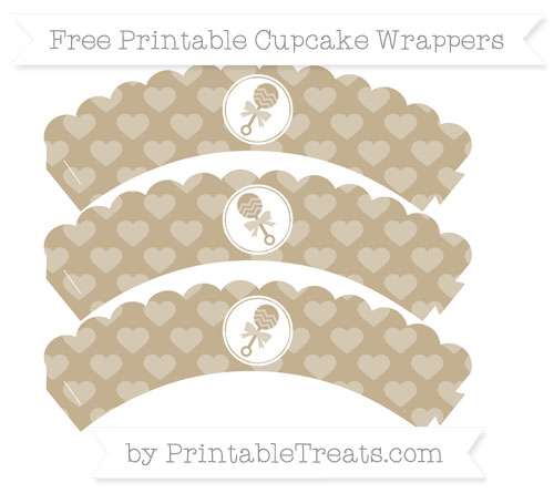 Free Khaki Heart Pattern Baby Rattle Scalloped Cupcake Wrappers