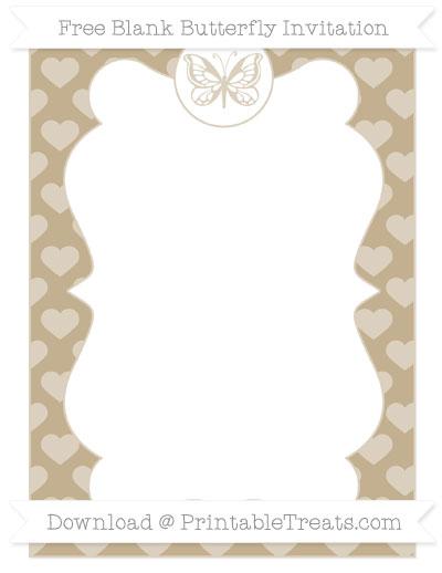 Free Khaki Heart Pattern Blank Butterfly Invitation