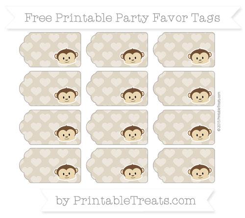 Free Khaki Heart Pattern Boy Monkey Party Favor Tags