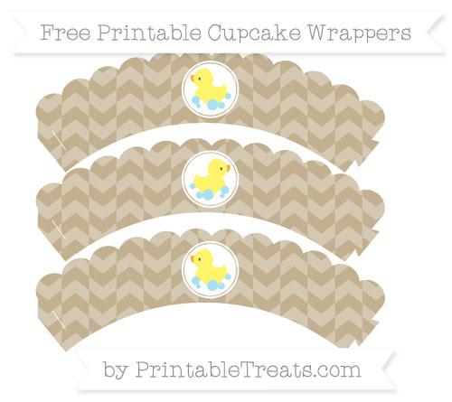 Free Khaki Herringbone Pattern Baby Duck Scalloped Cupcake Wrappers