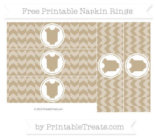 Free Khaki Herringbone Pattern Baby Onesie Napkin Rings