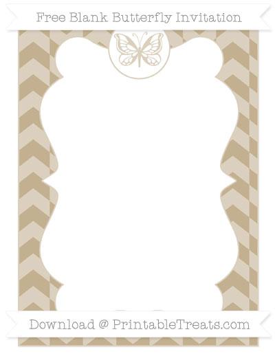 Free Khaki Herringbone Pattern Blank Butterfly Invitation