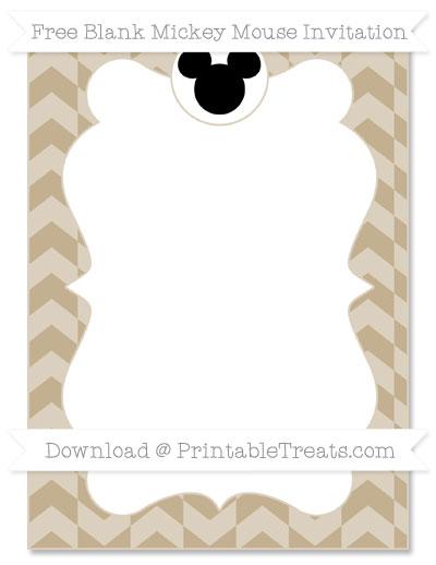 Free Khaki Herringbone Pattern Blank Mickey Mouse Invitation