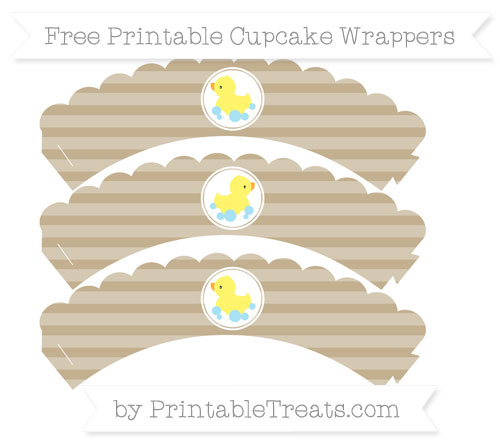 Free Khaki Horizontal Striped Baby Duck Scalloped Cupcake Wrappers