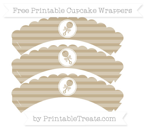 Free Khaki Horizontal Striped Baby Rattle Scalloped Cupcake Wrappers