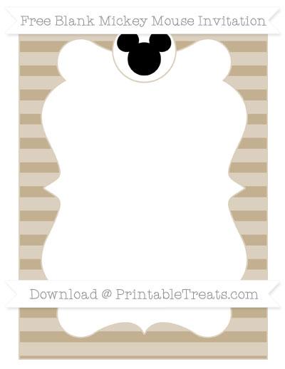Free Khaki Horizontal Striped Blank Mickey Mouse Invitation
