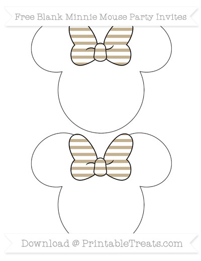 Free Khaki Horizontal Striped Blank Minnie Mouse Party Invites