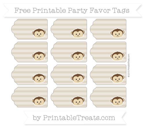 Free Khaki Horizontal Striped Boy Monkey Party Favor Tags