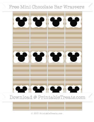 Free Khaki Horizontal Striped Mickey Mouse Mini Chocolate Bar Wrappers