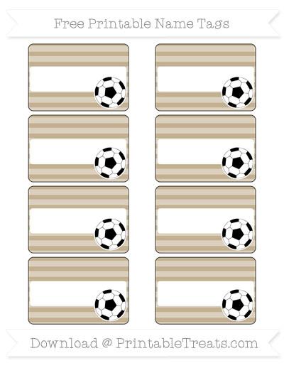 Free Khaki Horizontal Striped Soccer Name Tags