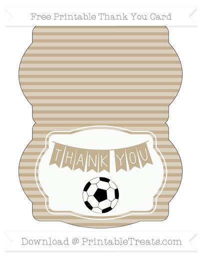 Free Khaki Horizontal Striped Soccer Thank You Card