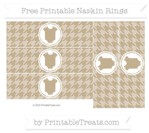 Free Khaki Houndstooth Pattern Baby Onesie Napkin Rings