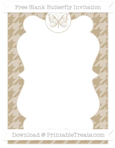 Free Khaki Houndstooth Pattern Blank Butterfly Invitation