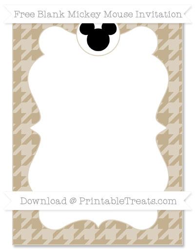 Free Khaki Houndstooth Pattern Blank Mickey Mouse Invitation