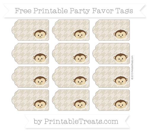 Free Khaki Houndstooth Pattern Boy Monkey Party Favor Tags