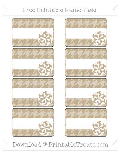 Free Khaki Houndstooth Pattern Cheer Pom Pom Tags