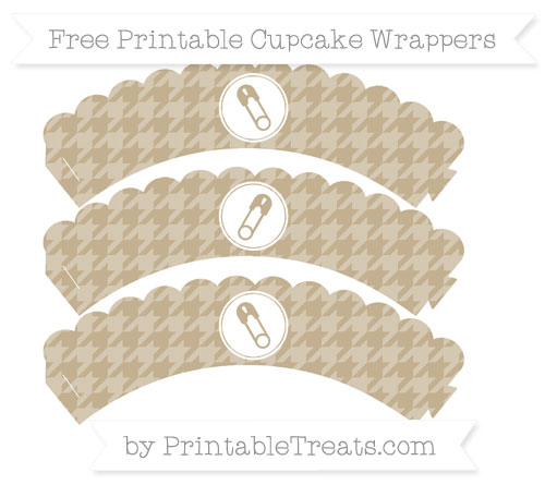 Free Khaki Houndstooth Pattern Diaper Pin Scalloped Cupcake Wrappers