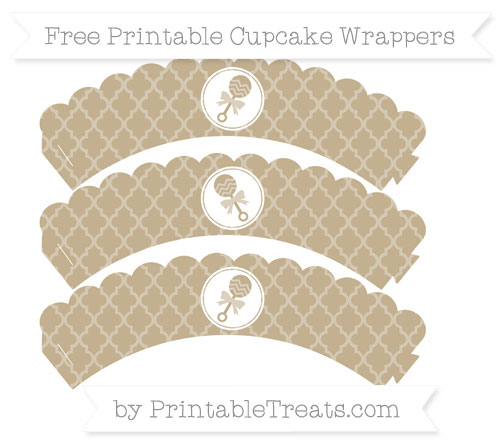Free Khaki Moroccan Tile Baby Rattle Scalloped Cupcake Wrappers