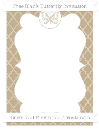 Free Khaki Moroccan Tile Blank Butterfly Invitation