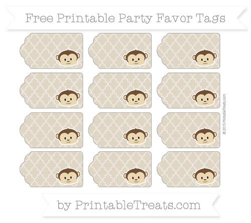 Free Khaki Moroccan Tile Boy Monkey Party Favor Tags