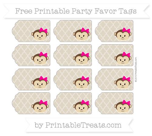 Free Khaki Moroccan Tile Girl Monkey Party Favor Tags