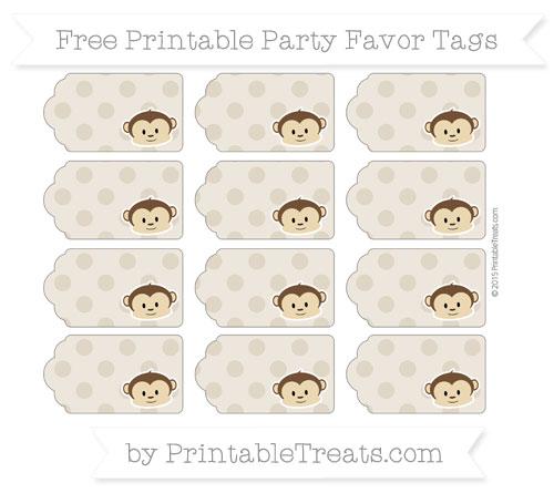 Free Khaki Polka Dot Boy Monkey Party Favor Tags