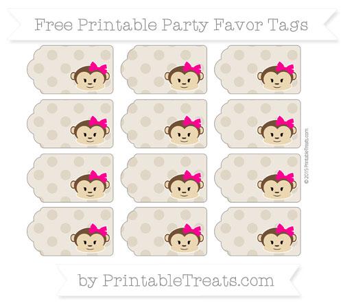 Free Khaki Polka Dot Girl Monkey Party Favor Tags