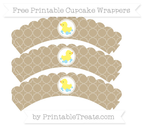 Free Khaki Quatrefoil Pattern Baby Duck Scalloped Cupcake Wrappers