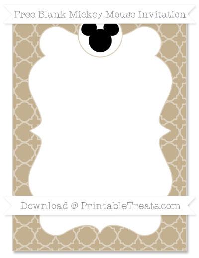 Free Khaki Quatrefoil Pattern Blank Mickey Mouse Invitation