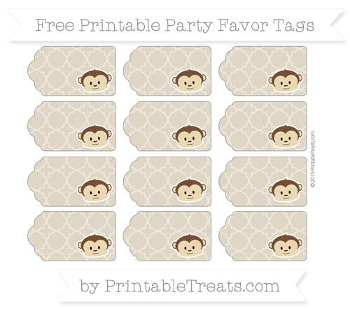 Free Khaki Quatrefoil Pattern Boy Monkey Party Favor Tags