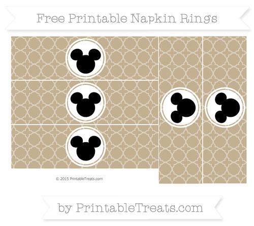 Free Khaki Quatrefoil Pattern Mickey Mouse Napkin Rings