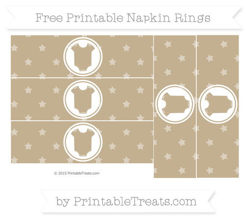 Free Khaki Star Pattern Baby Onesie Napkin Rings