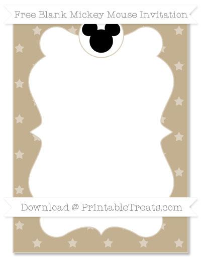 Free Khaki Star Pattern Blank Mickey Mouse Invitation