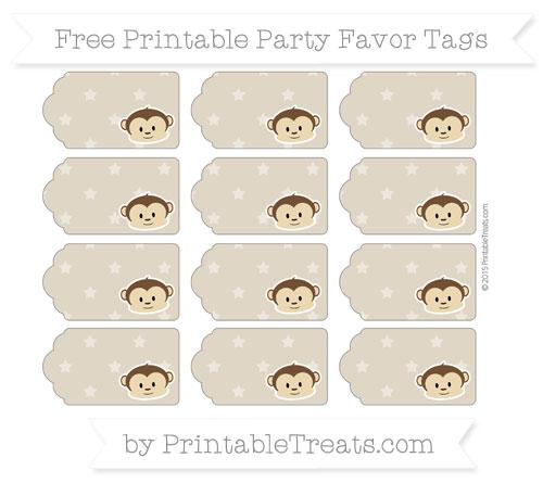 Free Khaki Star Pattern Boy Monkey Party Favor Tags