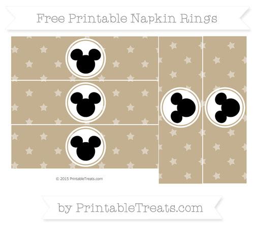 Free Khaki Star Pattern Mickey Mouse Napkin Rings