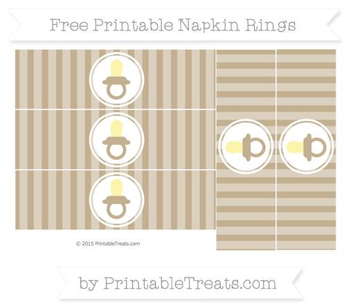 Free Khaki Striped Baby Pacifier Napkin Rings