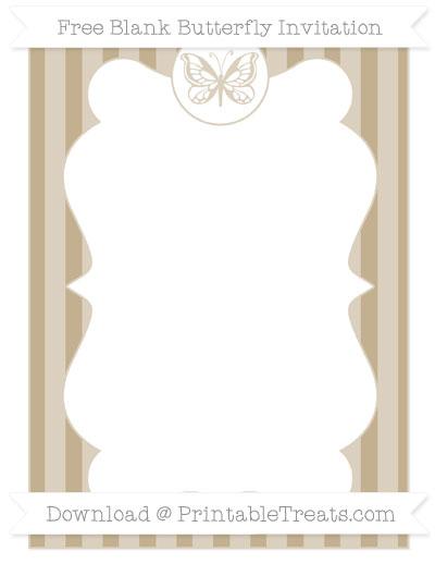 Free Khaki Striped Blank Butterfly Invitation