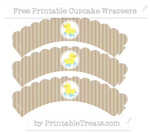 Free Khaki Thin Striped Pattern Baby Duck Scalloped Cupcake Wrappers