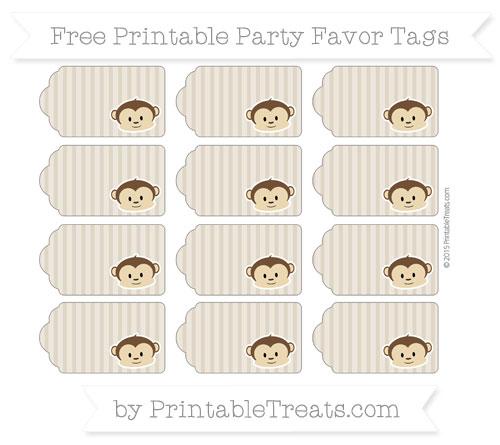 Free Khaki Thin Striped Pattern Boy Monkey Party Favor Tags