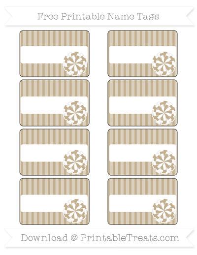 Free Khaki Thin Striped Pattern Cheer Pom Pom Tags
