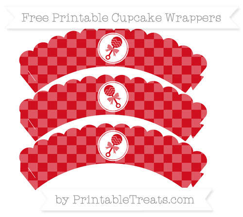 Free Lava Red Checker Pattern Baby Rattle Scalloped Cupcake Wrappers