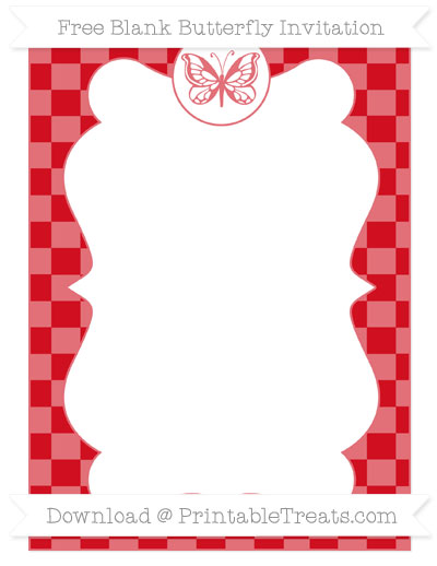 Free Lava Red Checker Pattern Blank Butterfly Invitation