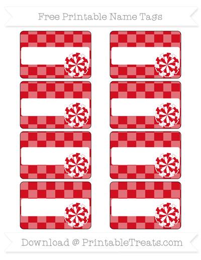 Free Lava Red Checker Pattern Cheer Pom Pom Tags